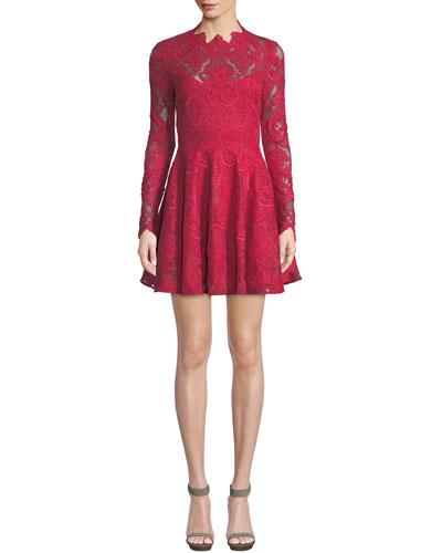 Rita Long-Sleeve Mini Dress in Corded Lace