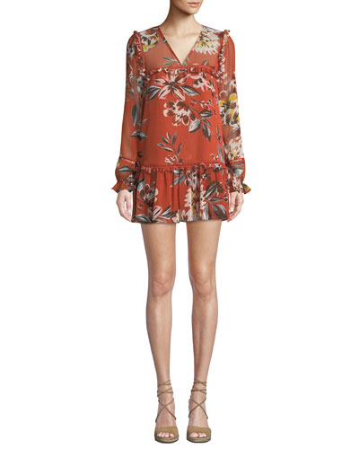 Lara Floral-Print Ruffle Mini Dress