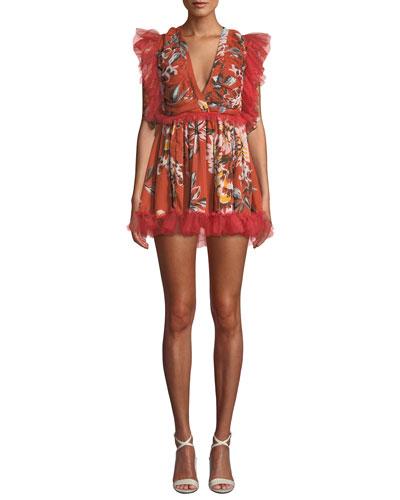 Amelia Shirred Ruffle Floral Mini Dress