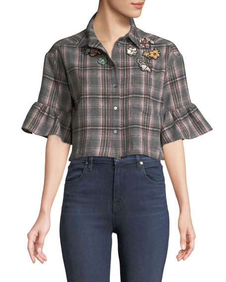 cinq a sept Emile Embellished Plaid Button-Front Crop