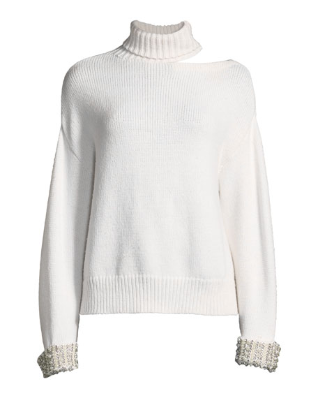 Gemini Shoulder-Cutout Embellished Turtleneck Sweater