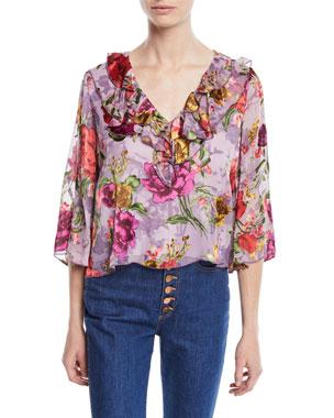 905f672c34af Alice + Olivia Cabella V-Neck Ruffle Floral-Print Top