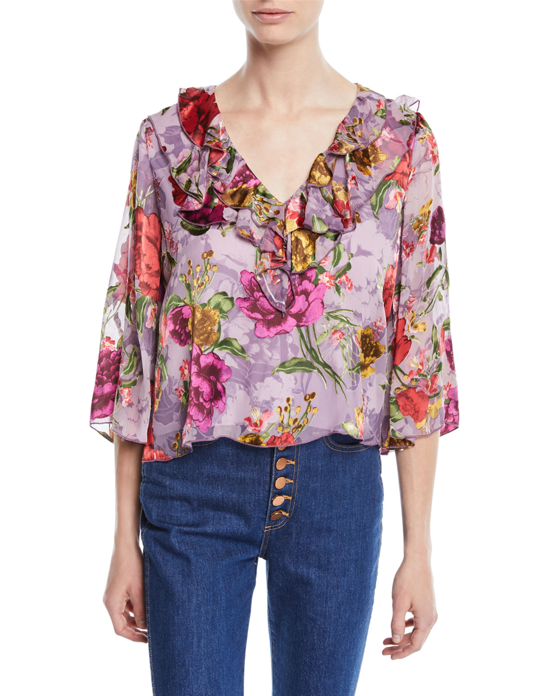7ad0865b684d4 Alice + Olivia Cabella V-Neck Ruffle Floral-Print Top