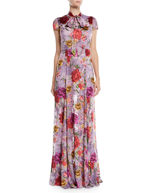 Alice + Olivia Roanne Keyhole Godet Dress | Neiman Marcus