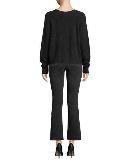 Jolynn Crewneck Raglan-Slit Wool Pullover Sweater