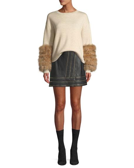 Jaya Leather Mini Skirt w/ Chain Trim