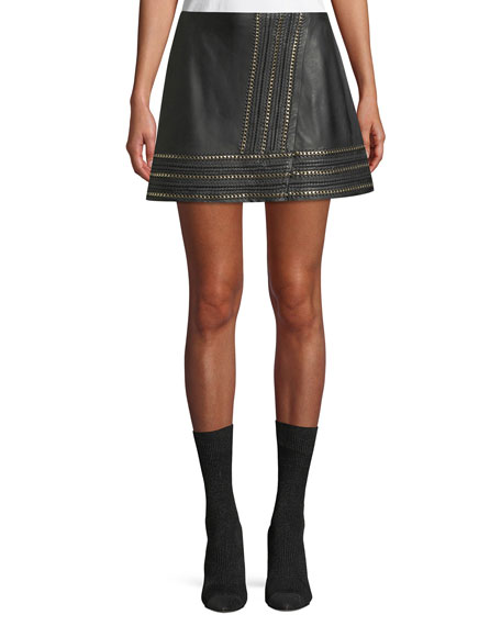 Alice + Olivia Jaya Leather Mini Skirt w/