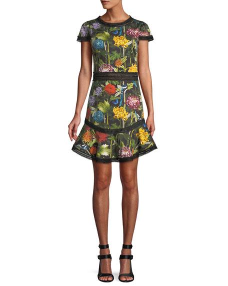 Alice+Olivia Floral Print Shortsleeved Dress - Black, Multi