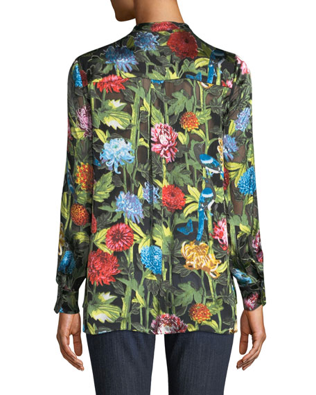 Amos Floral Burnout Long-Sleeve Tunic Top