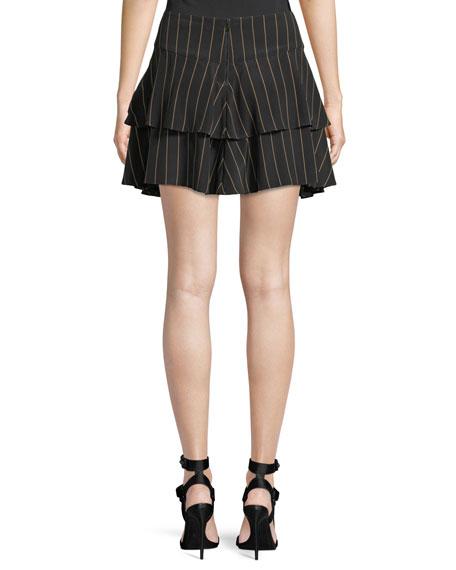 Paloma Pinstripe Ruffle Skirt