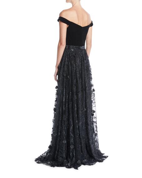 Off-the-Shoulder Velvet Jumpsuit w/ Lace Overskirt