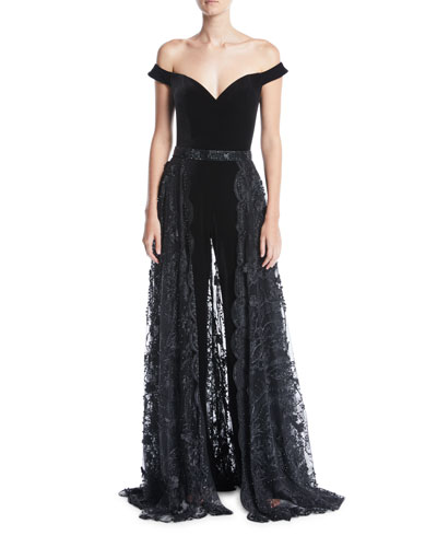 Off-the-Shoulder Velvet Jumpsuit w/ Lace Overskirt
