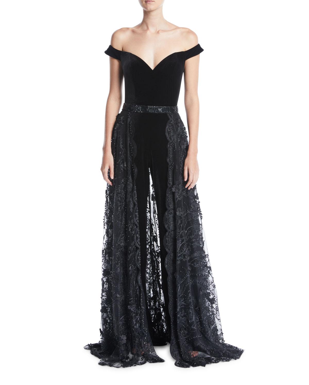 4d8d89c75101 Jovani Off-the-Shoulder Velvet Jumpsuit w  Lace Overskirt