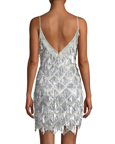 Geometric Cocktail Dress w/ Beaded Fringe