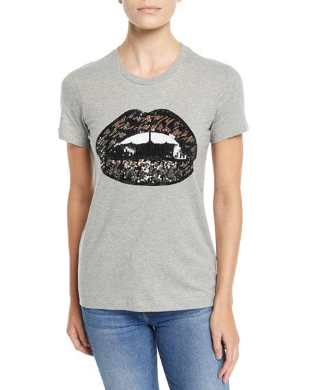 MARKUS LUPFER Kate Sequin Lip Scoop-Neck Tee in Gray