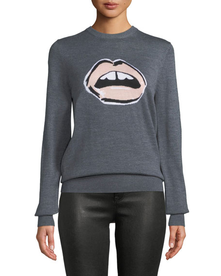 MARKUS LUPFER Mia Painted Lip Intarsia Wool Pullover Sweater in Gray/Pink