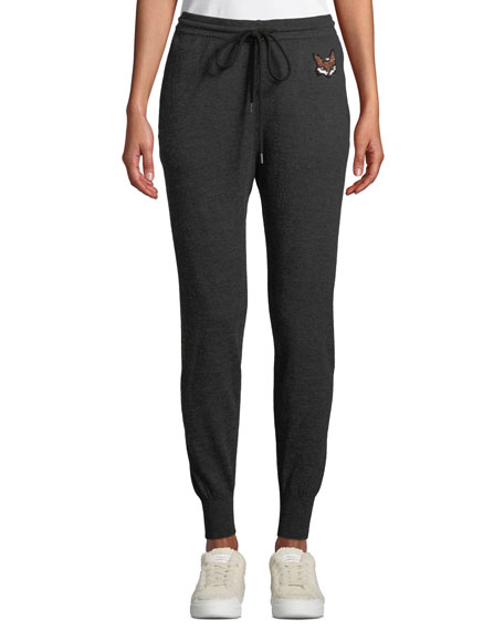 MARKUS LUPFER Drawstring Wool Sequin Fox Jogger Pants in Charcoal