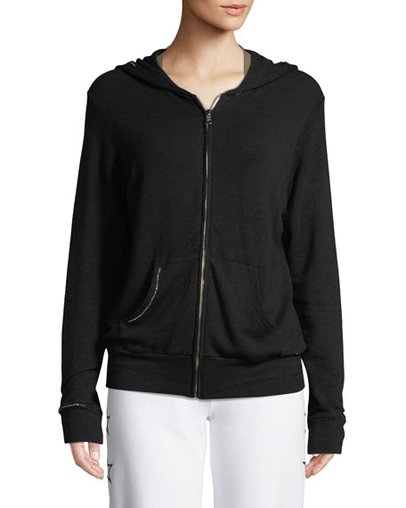 Studded Zip-Up Hoodie Sweatshirt