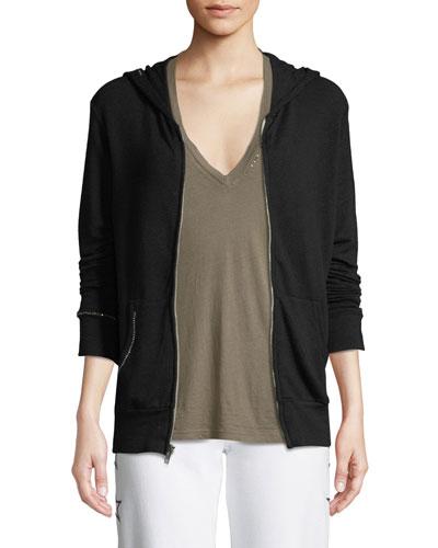 Studded Zip-Up Hoodie Sweatshirt