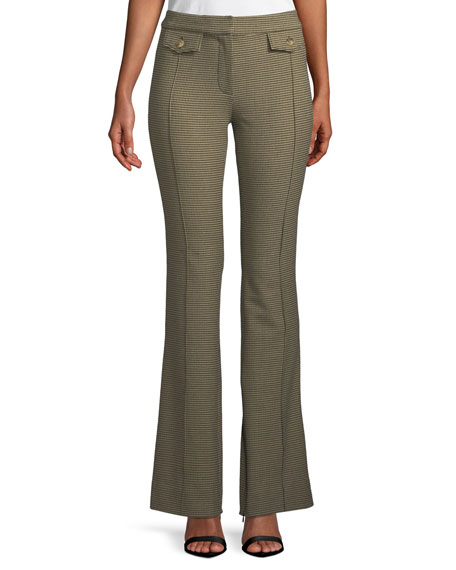Derek Lam 10 Crosby Check Flare-Leg Trousers with