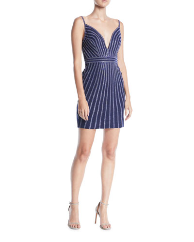 Plunging Striped Beaded Jersey Mini Cocktail Dress