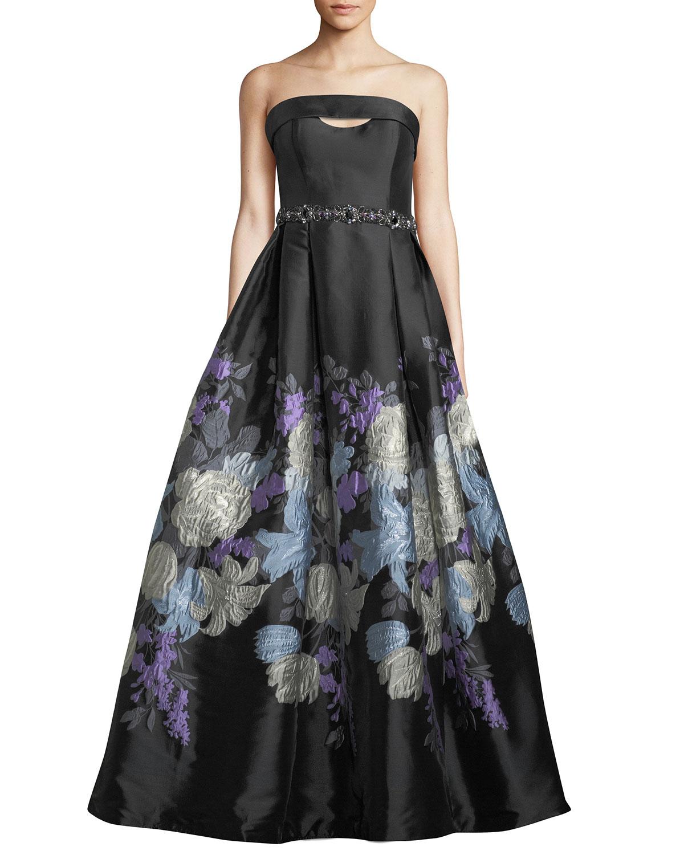 Jovani Strapless Jacquard Ball Gown   Neiman Marcus