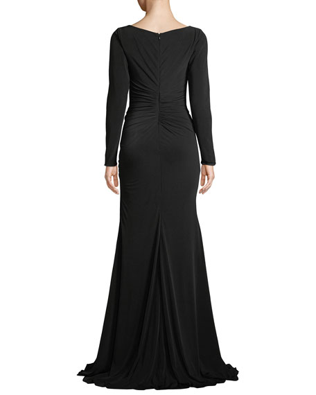 Long-Sleeve Jersey Gown w/ Ruching