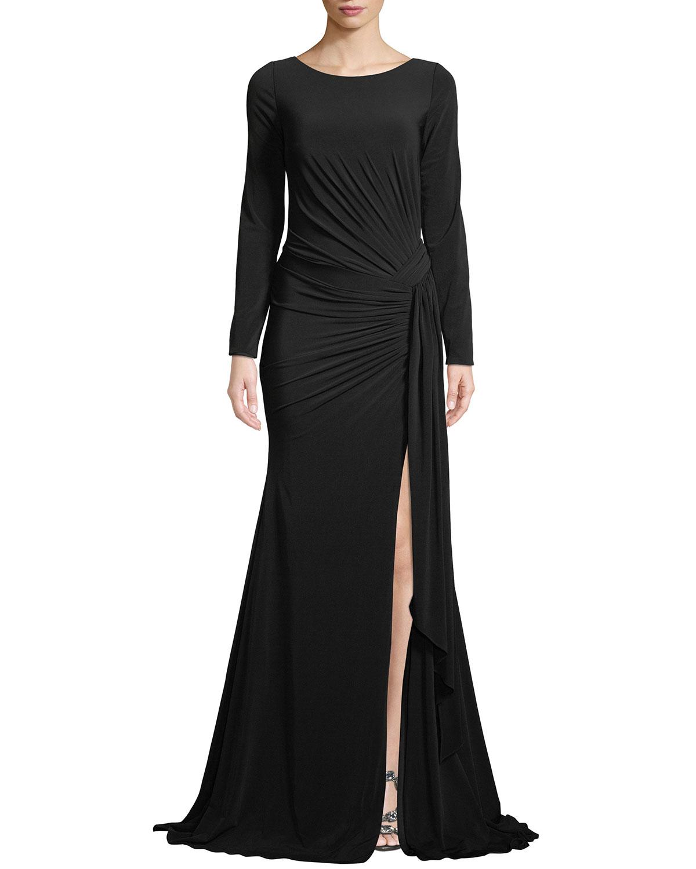 Jovani Long-Sleeve Jersey Gown w/ Ruching | Neiman Marcus