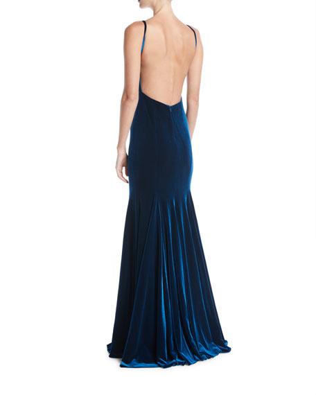 V-Neck Thin-Strap Low-Back Velvet Evening Gown