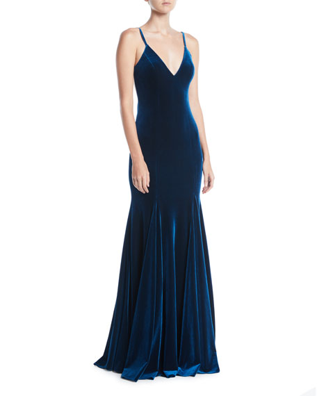 Jovani V-Neck Thin-Strap Low-Back Velvet Evening Gown