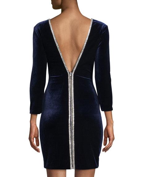 Long-Sleeve Velvet Mini Dress w/ Zippers