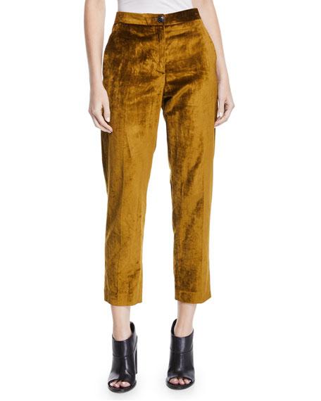 Poppy Velvet High-Rise Cropped Pants in Olive
