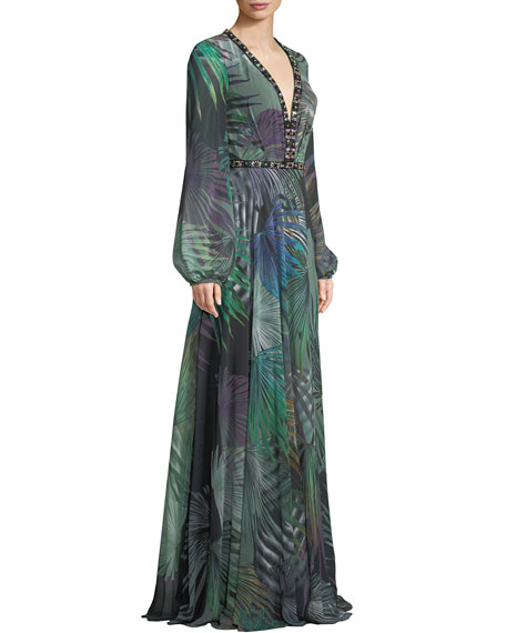 Long-Sleeve Chiffon Gown in Palm-Leaf Print