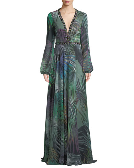 Jovani Long-Sleeve Chiffon Gown in Palm-Leaf Print