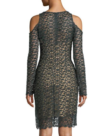 Long-Sleeve Lace Cold-Shoulder Dress