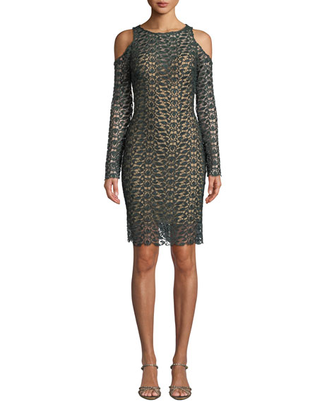 Jovani Long-Sleeve Lace Cold-Shoulder Dress