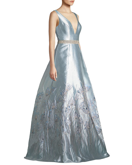 Sleeveless Plunge-Neck Gown in Metallic Jacquard