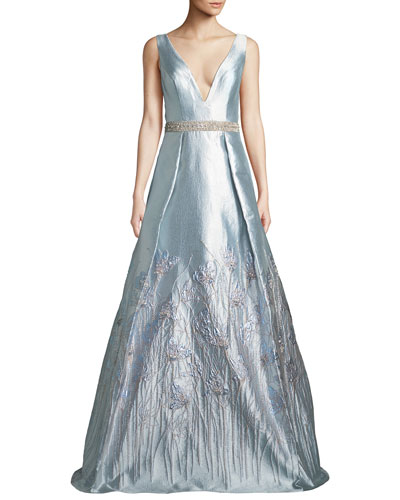 Sleeveless Plunge-Neck Gown in Metallic Jacquard