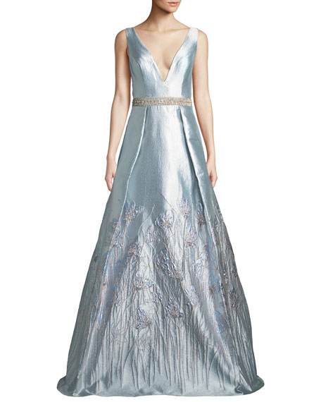 Jovani Sleeveless Plunge-Neck Gown in Metallic Jacquard