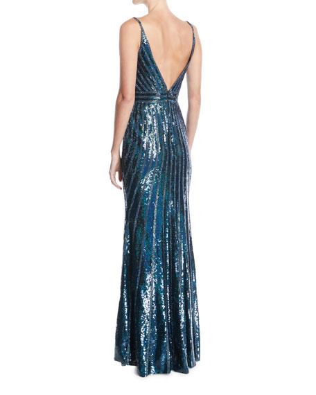 V-Neck Sleeveless Striped-Sequin Slip Evening Gown