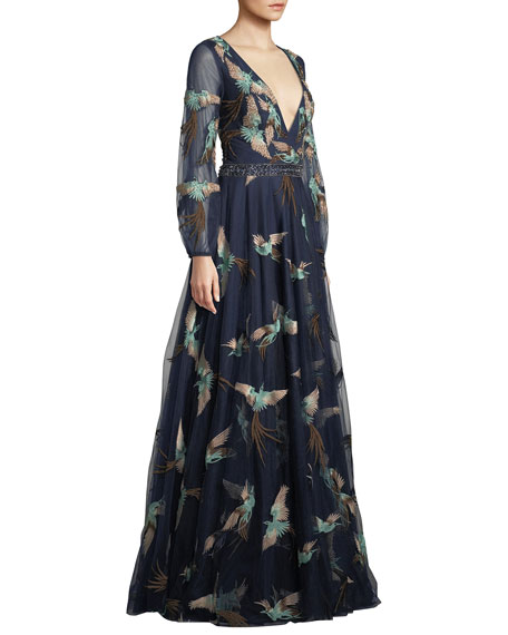 Embellished Gown w/ Bird Print