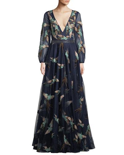Embellished Gown w/ Bird Print