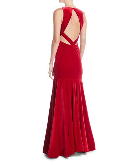Deep V-Neck Open-Back Velvet Trumpet Gown
