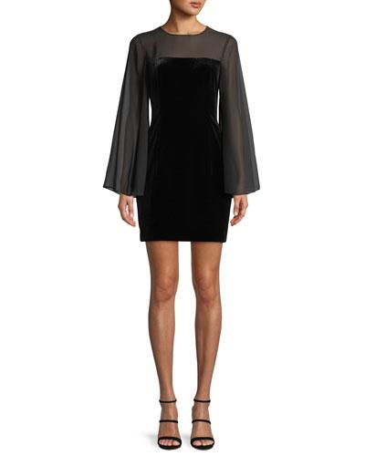 Bell-Sleeve Velvet & Chiffon Bodycon Mini Cocktail Dress
