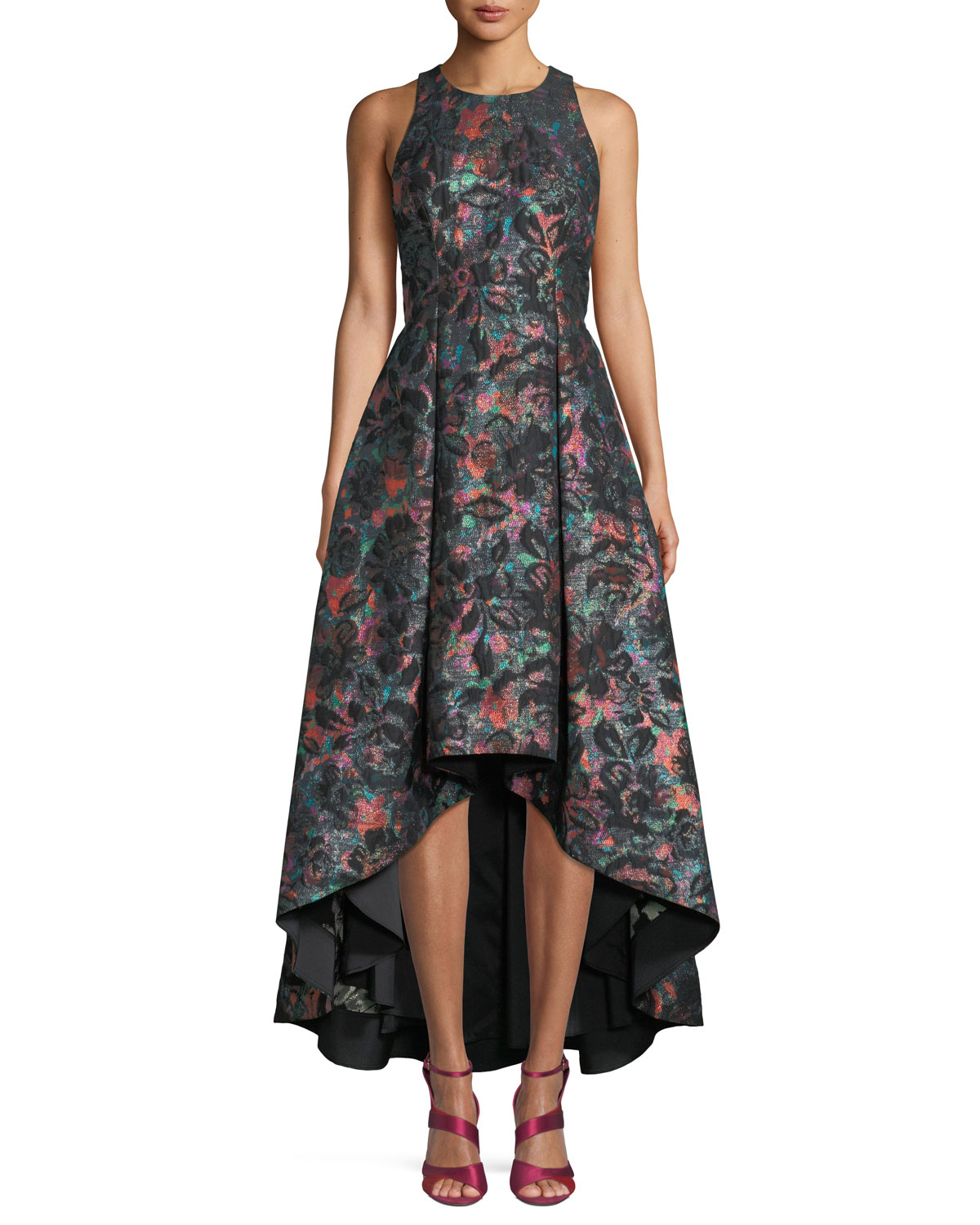 4ae3111c0a6a Aidan by Aidan Mattox Sleeveless Jewel-Neck Floral-Jacquard High-Low Formal  Gown