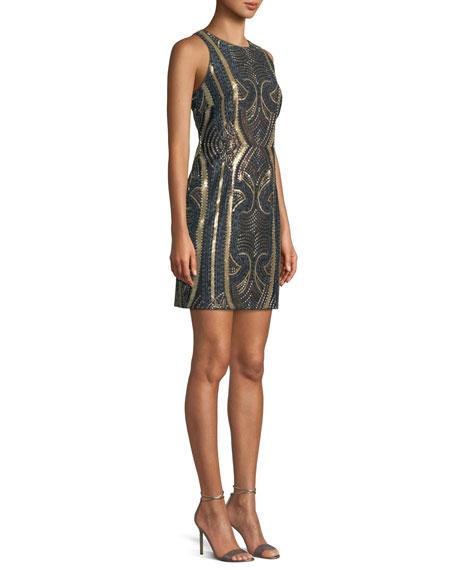 Jewel-Neck Sleeveless Sequin Embroidered Mini Cocktail Dress