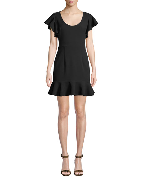 Black Halo Lynn Flouncy Scoop-Neck Mini Dress