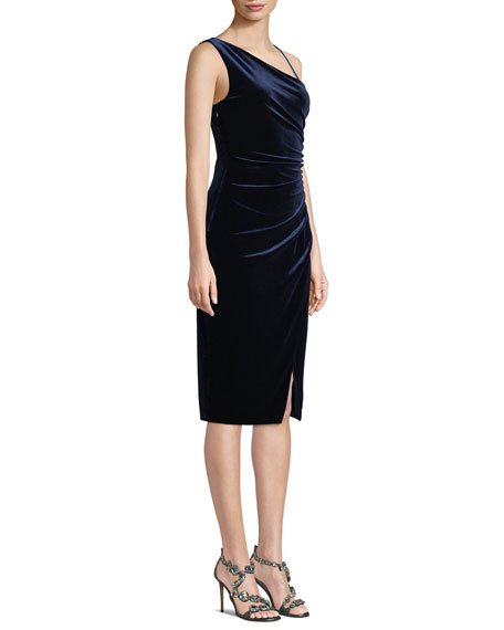 Aracely Asymmetric Dress in Ruched Velvet