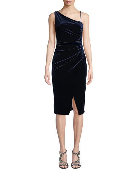 Black Halo Aracely Asymmetric Dress in Ruched Velvet