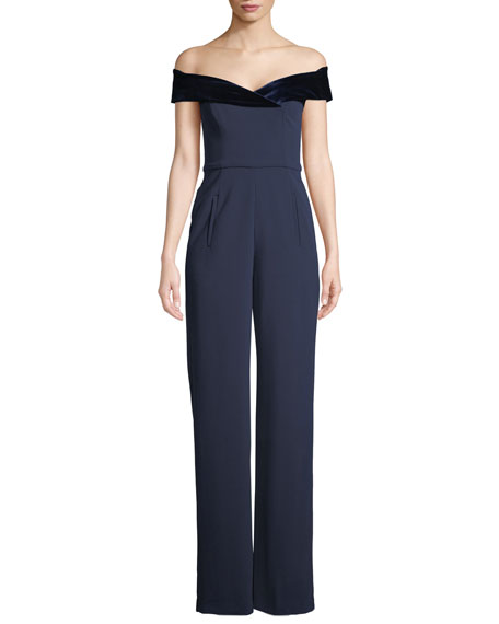 Black Halo Yoli Colorblock Jumpsuit w/ Velvet Cuff